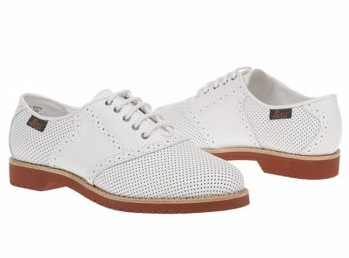Bass Women's Enfield in white perforated