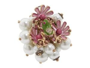 betsey johnson flower girl and frog ring